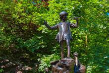 The Peter Pan Statue At Kensinton Gardens In London, UK
