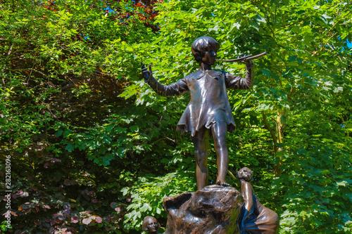 The Peter Pan statue at Kensinton Gardens in London, UK Canvas Print