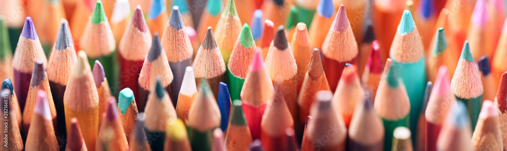 Fototapety, obrazy: Collection of used and worn colored pencils. Art school background.