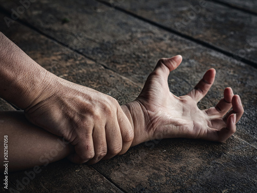 Fotografie, Tablou  Hands for rape and sexual abuse concept
