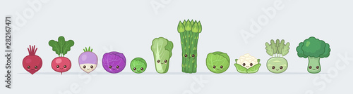 Poster Cuisine Set cabbage and vegetables. Cute kawaii food