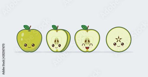 Photo  Green apple set drawn cute kawaii food faces