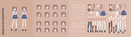 Anime manga girl character animation motion design Wallpaper Mural