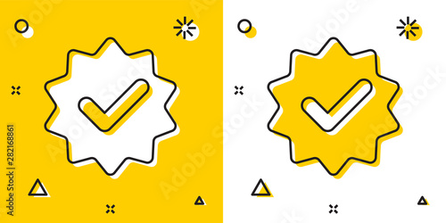 Fotografie, Obraz Black Approved or certified medal with ribbons and check mark icon isolated on yellow and white background