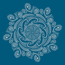Hand Drawn Abstract Ornament With Radial Symmetry For Coloring