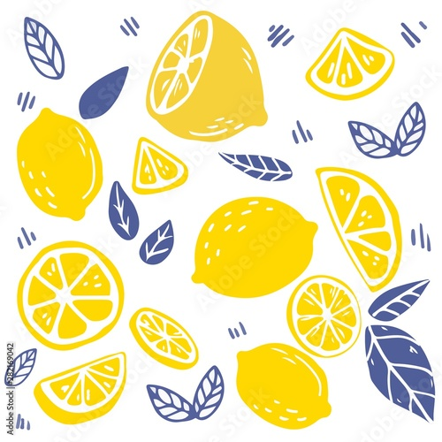 The seamless pattern of lemon and leaf. the part of lemon and leaf. the pattern backgroung of yellow lemon on white background. cute lemon in flat vector style. - 282169042