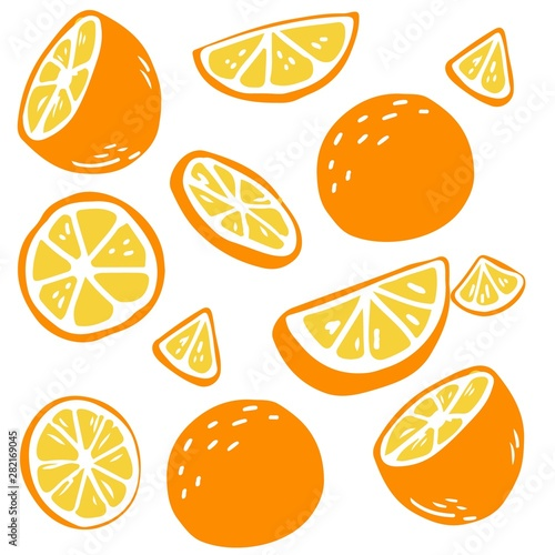 pattern background of oranges on a white background. cute oranges in flat vector style. - 282169045