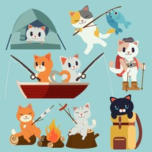 The Collection Of Camping Cats Pack Set For Go To The Forest Picnic Trip. Trip Of Camping And Fishing. And Tent In The Forest. Cooking A Marshmello. Cute Cat In Flat Vector Style.