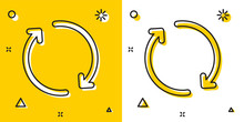 Black Refresh Icon Isolated On Yellow And White Background. Reload Symbol. Rotation Arrows In A Circle Sign. Random Dynamic Shapes. Vector Illustration
