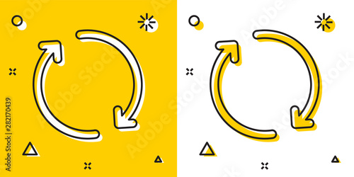 Cuadros en Lienzo Black Refresh icon isolated on yellow and white background