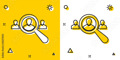 Fototapeta Black Magnifying glass for search a people icon isolated on yellow and white background. Recruitment or selection concept. Search for employees and job. Random dynamic shapes. Vector Illustration obraz