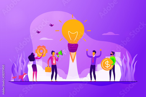 Photo sur Toile Les Textures Startup, project launch. Team brainstorming, searching solution. Business idea, business plan, small business launcher, business development concept. Vector isolated concept creative illustration