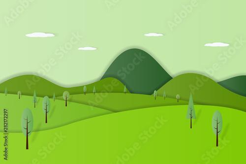 Foto auf Gartenposter Lime grun Green nature forest landscape background paper art style vector illustration.