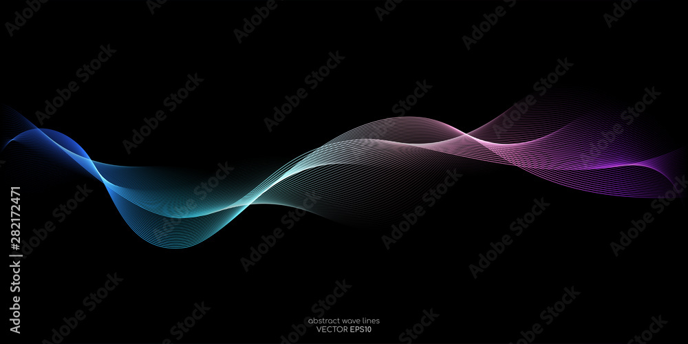 Fototapeta Abstract wave lines pattern dynamic colorful light flowing isolated on black background. Vector illustration design element in concept of music, party, technology, modern.