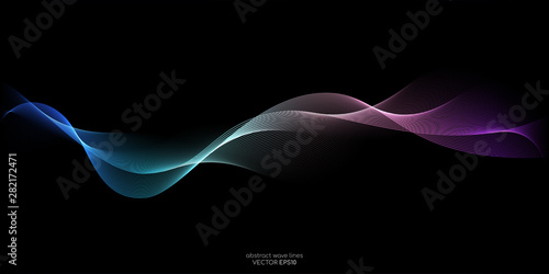 Poster Abstract wave Abstract wave lines pattern dynamic colorful light flowing isolated on black background. Vector illustration design element in concept of music, party, technology, modern.