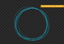 String Beads Realistic Isolated. Decorative Design Element Blue Bead