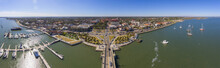 St. Augustine City Aerial View Including Plaza De La Constitucion, Cathedral Basilica Of St. Augustine And Governor House Panorama, St. Augustine, Florida, USA.