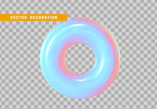 Realistic 3d Shape Torus, Donut Objects With Gradient Holographic Color Of Hologram. Geometric Decorative Design Elements Isolated On Transparent Background. Vector Illustration.