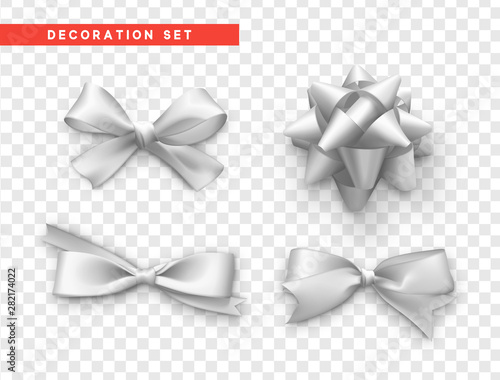 Stampa su Tela  Bows white realistic design. Isolated gift bows with ribbons