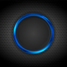 Blue Glossy Circle Frame On Dark Perforated Background. Abstract Technology Futuristic Ring. Vector Design