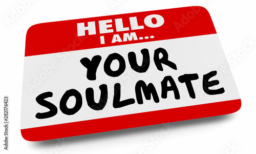 Fotomural  Your Soulmate Nametag Sticker Love Romance Dating 3d Illustration