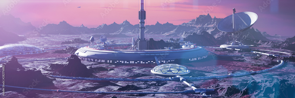 Fototapeta habitat on Mars surface, human colony on the red planet (3d space landscape rendering banner)