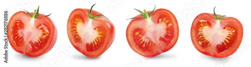 Fotografía A half of ripe fresh tomatoe isolated on white background