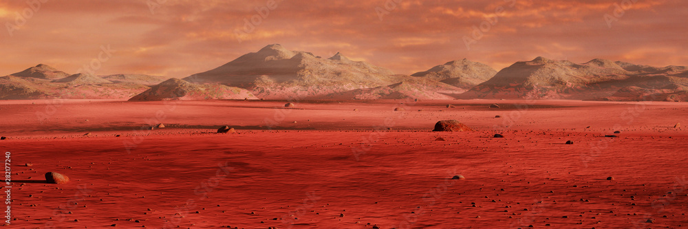 Fototapeta landscape on planet Mars, scenic desert surrounded by mountains, red planet surface
