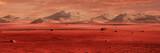 krajobraz na planecie Mars, malownicza pustynia otoczona górami, powierzchnia czerwonej planety