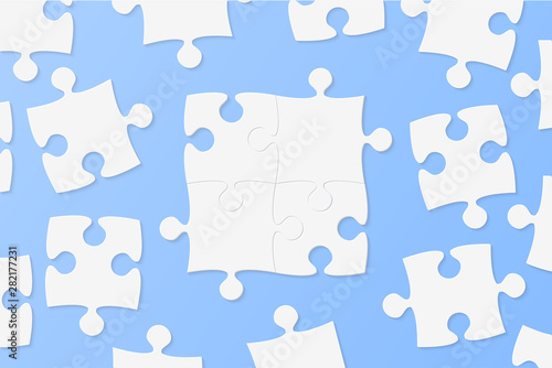 Puzzle jigsaw frame, background, banner or blank. Tablou Canvas