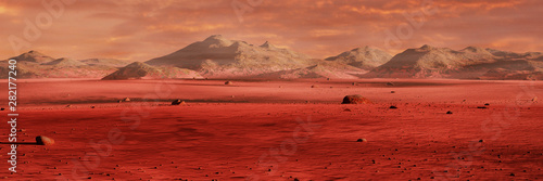 Garden Poster Magenta landscape on planet Mars, scenic desert surrounded by mountains, red planet surface