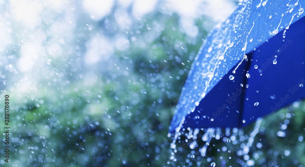 Fototapeta Lifestyle scene of rainy weather. Blue umbrella under rainfall. Banner format.