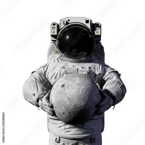astronaut holding the Moon, showing the far side, isolated on white background Canvas Print