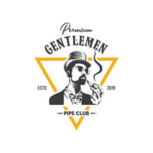 Gentlemen Pipe Club Logo Design Template Inspiration