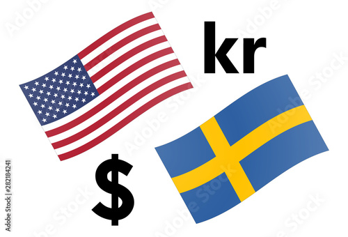 Fotografie, Obraz USDSEK forex currency pair vector illustration