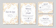 Wedding invitation collection with save the date and rsvp card vector templates. Elegant invitations set with autumn floral motives and gray marble texture.