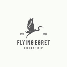 Flying Egret Logo Design Template Inspiration - Vector
