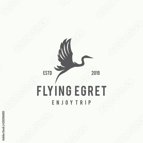Obraz na płótnie Flying Egret Logo Design Template Inspiration - Vector