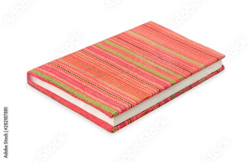 Photo sur Aluminium Pays d Europe Colorful notebook and cover made from frabic isolated on white