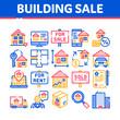 Building House Sale Vector Thin Line Icons Set. Building Sale And Rent Tablet, Web Site, Smartphone Application Linear Pictograms. Garage, Skyscraper, Truck Cargo Color Contour Illustrations