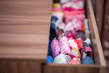 Vertical Storage Of Clothing. Clothing Folded For Vertical Storage In The Linen Drawer