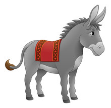 A Donkey Cute Animal Cartoon Character Illustration