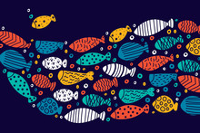 School Of Fish. Nice Decorative Illustration.Vector Sea Poster.