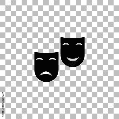Fotografie, Obraz  Comedy and tragedy theatrical masks icon flat