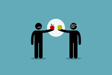 Comparing Apple With Orange. Vector Artwork Of Two Different Man Holding An Apple And Orange, And Start To Compare Them To Each Other. Concept Of Difference, Incomparable, Impractical, And Pointless.