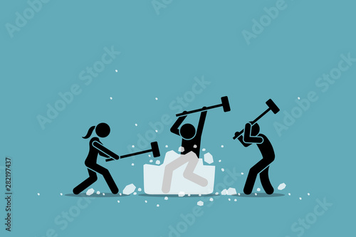 Fototapeta Ice breaking or icebreaker activity, game and event. Vector artwork of a group of people using sledgehammer to break a large ice. Concept of knowing each member and warm up for participants meeting. obraz