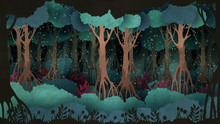 Fairytale Forest Background. Old Trees Surrounded By Fireflies In The Night.