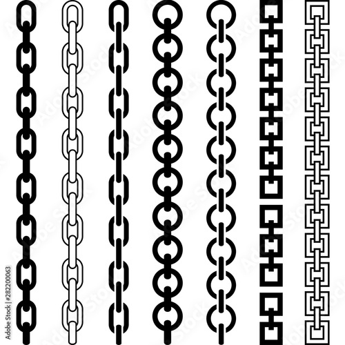 Vector illustration of chain pattern set of braided ropes in black and white col Fototapete