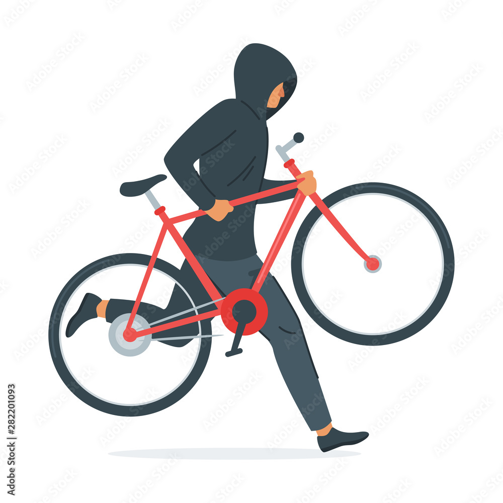 Fototapeta Criminal stealing bicycle vector illustration