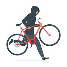 Criminal Stealing Bicycle Vector Illustration